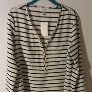 NWT Calvin klein black and white blouse